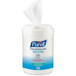 PURELL(R) Alcohol Hand Sanitizing Wipes - White - Pre-moistened, Durable, Lint-free, Textured, Fragrance-free, Dye-free, Non-sticky, Residue-free, Anti-septic,