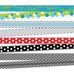 Barker Creek Chevron/Dots Double-Sided Borders, 3in. x 35in., Multicolor, Pack Of 52 Borders