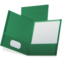 Oxford Linen Twin Pocket Portfolio - Letter - 8 1/2in. x 11in. Sheet Size - 100 Sheet Capacity - 2 Pocket(s) - Dark Green - 25 / Box