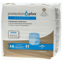 Protection Plus Classic Protective Underwear, X-Large, 56 - 68in., White, 14 Per Bag, Case Of 4 Bags