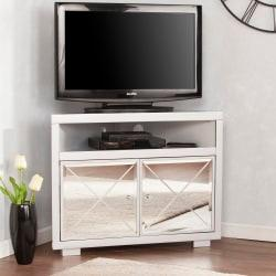 Southern Enterprises Mirage Mirrored Corner TV Stand For 34in. Flat-Screen TVs, Matte Silver