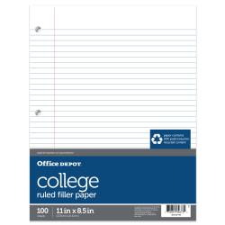 Office Depot(R) Brand 30% Recycled College-Ruled Notebook Filler Paper, 3-Hole Punched, 11in. x 8 1/2in, 100 Sheets