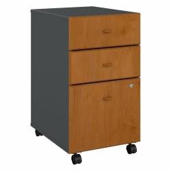 Bush Business Furniture Office Advantage 3 Drawer Mobile File Cabinet, Natural Cherry/Slate, Standard Delivery