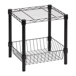 Honey-Can-Do Urban Steel Table With Storage Basket, Black