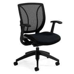 Global(R) Roma Fabric Posture Task Chair With Mesh Back, 38in.H x 25 1/2in.W x 23 1/2in.D, Midnight Black