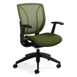 Global(R) Roma Fabric Posture Task Chair With Mesh Back, 38in.H x 25 1/2in.W x 23 1/2in.D, Spring Green