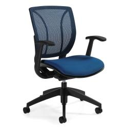 Global(R) Roma Fabric Posture Task Chair With Mesh Back, 38in.H x 25 1/2in.W x 23 1/2in.D, Summer Blue