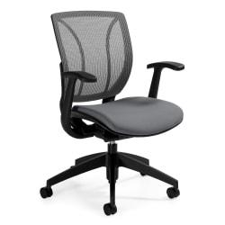 Global(R) Roma Fabric Posture Task Chair With Mesh Back, 38in.H x 25 1/2in.W x 23 1/2in.D, Winter Gray