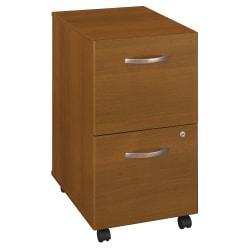 Bush Business Furniture Components 2 Drawer Mobile File Cabinet, Warm Oak, Standard Delivery