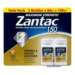 Zantac Maximum Strength Acid Reducer Tablets, 60 Tablets Per Bottle, Pack Of 2 Bottles