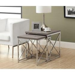 Monarch Specialties 2-Piece Nesting Table Set With Criss-Cross Legs, Square, Dark Taupe/Silver