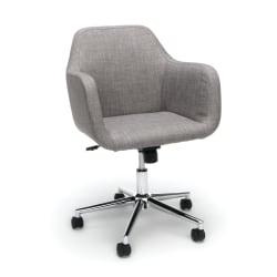 Essentials By OFM Upholstered Mid-Back Home Office Chair, Gray/Chrome