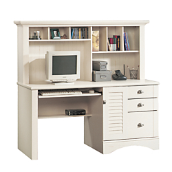 Sauder(R) Harbor View Collection Computer Desk With Hutch, 57 3/8in.H x 62 1/4in.W x 23 1/2in.D, Antiqued White