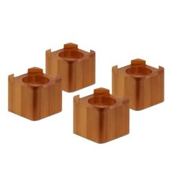 Honey-Can-Do Wooden Bed Lifts, 3 13/16in.H x 4 1/4in.W x 4 1/4in.D, Dark Maple, Pack Of 4
