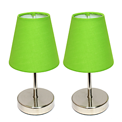 Simple Designs Mini Basic Table Lamps, 10in.H, Green Shade/Sand Nickel Base, Set Of 2
