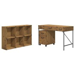 kathy ireland(R) Office by Bush Furniture Ironworks 48in.W Writing Desk, 2 Drawer Mobile Pedestal, And 6 Cube Bookcase, Vintage Golden Pine, Standard Delivery