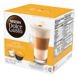 Nescafe Dolce Gusto Latte Macchiato Coffee Pods Pod - Compatible with Majesto Automatic Coffee Machine - Latte Macchiato, Espresso, Rich Aroma - 16 / Box