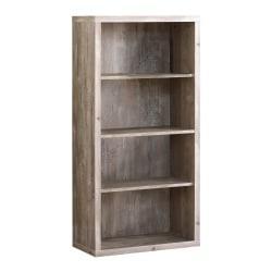 Monarch Specialties 4-Shelf Adjustable Bookcase, Taupe Woodgrain