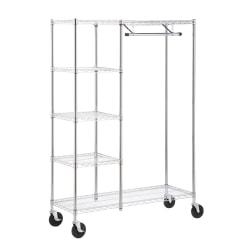 Honey-Can-Do Urban Steel Heavy-Duty Storage Valet, 5-Tiers, 68in.H x 48in.W x 18in.D, Chrome
