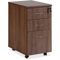 Lorell(R) Essentials Series 22in.D 3-Drawer Mobile Pedestal File Cabinet, Walnut