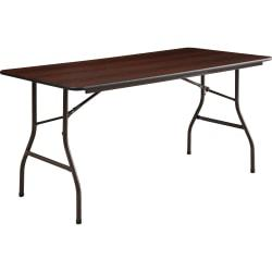Lorell (R) Laminate Economy Folding Table, 29in.H x 30in.W x 60in.D, Mahogany