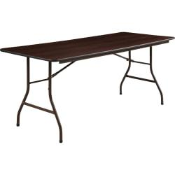 Lorell (R) Laminate Economy Folding Table, 29in.H x 30in.W x 72in.D, Mahogany