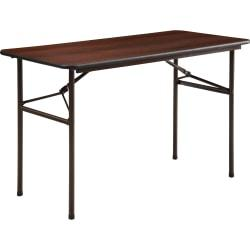 Lorell (R) Laminate Economy Folding Table, 29in.H x 24in.W x 48in.D, Mahogany