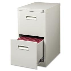 Lorell(R) 2-Drawer Mobile Letter-Size Pedestal File Cabinet, 22in.D, Light Gray