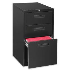 Lorell(R) 22in.D Mobile Letter-Size Pedestal File Cabinet, Box/Box/File, Black