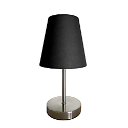 Simple Designs Mini Basic Table Lamp, 10in., Black Shade/Sand Nickel Base