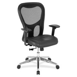 Lorell(R) Executive Leather/Mesh Mid-Back Chair, Black