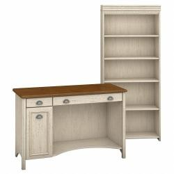 Bush Furniture Stanford Computer Desk And 5 Shelf Bookcase, Antique White/Tea Maple, Standard Delivery