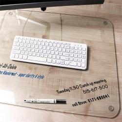 Desktex Glaciermat Glass Desk Pad - 24in. Width x 19in. Depth - Clear