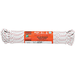 Solid braided construction Synthetic reinforcing core Polished with weather-resistant coating Wears and knots very well 031-120-05 3/8X100 COTTON SASH CORD 3/8INCH is one of many Strapping Materials & Twine available through Office Depot. Made by Sachem.