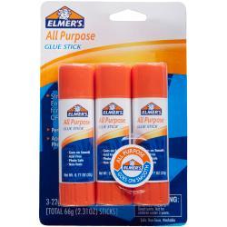 Elmer's(R) Office Strength Glue Sticks, All Purpose, 0.77 Oz, Clear, Pack Of 3
