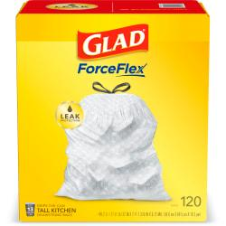 Glad Tall Kitchen Drawstring Trash Bags - 13 gal - 9 mil (229 Micron) Thickness - White - Plastic - 120/Box - Home, Day Care, Breakroom, Garbage, Kitchen