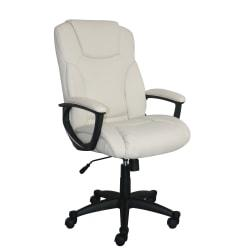 Serta Style Hannah II High-Back Office Chair, Bonded Leather, Harvard Ivory/Black