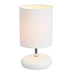 Simple Designs Stonies Bedside Table Lamp, 10 1/2in.H, White Shade/White Base