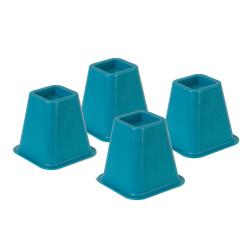 Honey-Can-Do Plastic Bed Risers, 6in.H x 6 1/2in.W x 6 1/2in.D, Blue, Pack Of 4