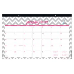 Blue Sky(TM) Dabney Lee Monthly Desk Pad Calendar, 17in. x 11in., Ollie, January to December 2019