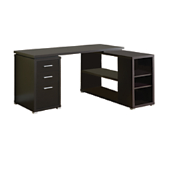 Monarch Specialties L-Shaped Computer Desk With Book Shelf, Cappuccino