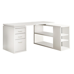 Monarch Specialties L-Shaped Computer Desk With Book Shelf, White