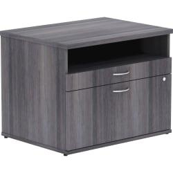 Lorell Relevance Series Charcoal Laminate Office Furniture - 29.5in. x 22in. x 23.1in. - 2 x File Drawer(s) - 1 Shelve(s) - Finish: Silver Pull, Charcoal, Lamin