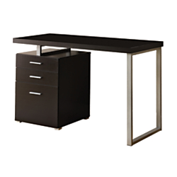 Monarch Specialties Computer Desk With Left/Right Pedestal, Cappuccino