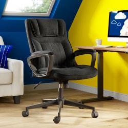 Serta Style Hannah I High-Back Office Chair, Microfiber, Comfort Black/Black