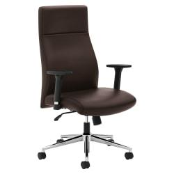 basyx by HON HVL108 High-Back Executive Chair - SofThread Leather Brown Seat - SofThread Leather Brown Back - 5-star Base - Brown - 29.8in. Width x 29.8in. Dept