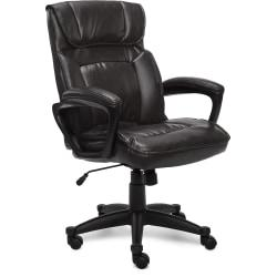 Serta Style Hannah I High-Back Office Chair, Bonded Leather, Comfort Black/Black