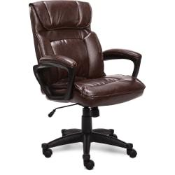 Serta Style Hannah I High-Back Office Chair, Bonded Leather, Comfort Biscuit/Black