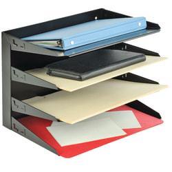 STEELMASTER(R) Steel Multi-Tier Letter Size Organizers, Black, 4 Trays
