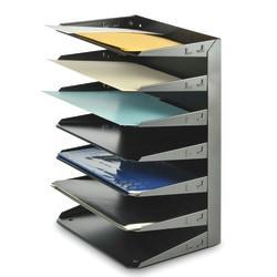STEELMASTER(R) Steel Multi-Tier Letter Size Organizers, Black, 7 Trays